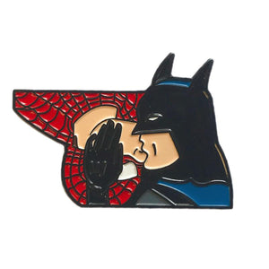 Geeky & Kinky Batman & Spiderman XO Enamel Pin