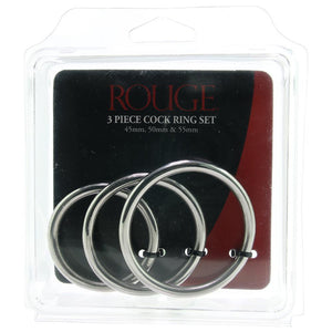 Rouge 3 Piece Stainless Steel Cock Ring Set