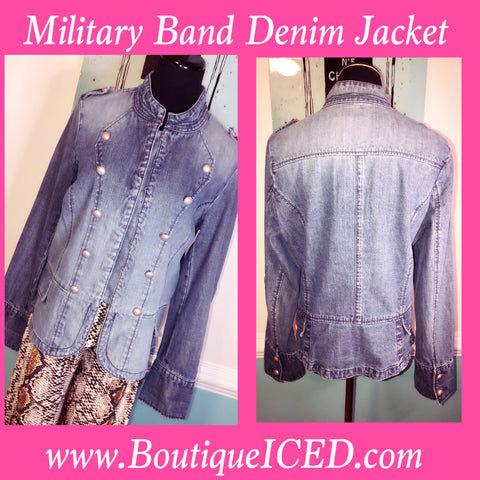 Military Band Style Denim Jacket