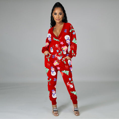 Plus, V- Neck Holiday Onesie