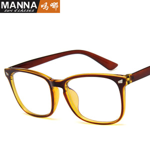 Classic square glasses frame men and women retro rice glasses frame lens plus blue film UV400 flat mirror 15969