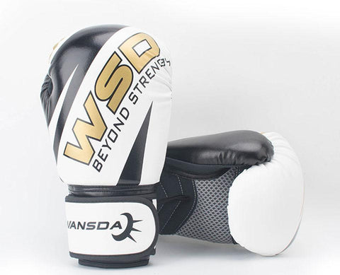 Image of Gloves - White / Gold Boxing Gloves 6oz/10oz/12oz - Various Weights Available