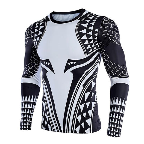 Image of Long Sleeve - Aquaman Rashguard Black/white (long Sleeve)