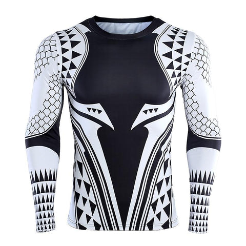 Image of Long Sleeve - Aquaman Rashguard White/black (long Sleeve)