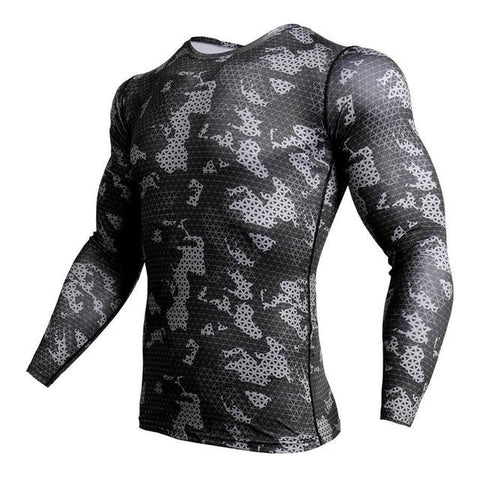 Image of Long Sleeve - Black/grey Camo Print Rashguard (long Sleeve)