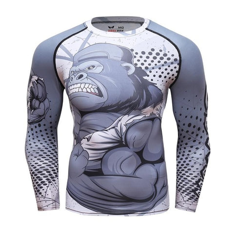 Image of Grey Gorilla long sleeve BJJ rashguard - front