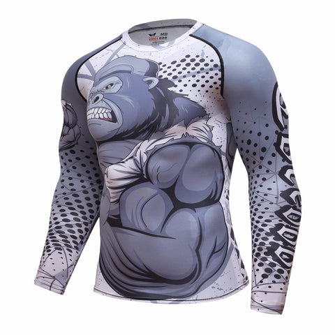 Grey Gorilla long sleeve BJJ rashguard - side