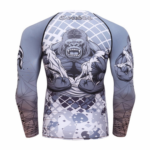 Grey Gorilla long sleeve BJJ rashguard - back
