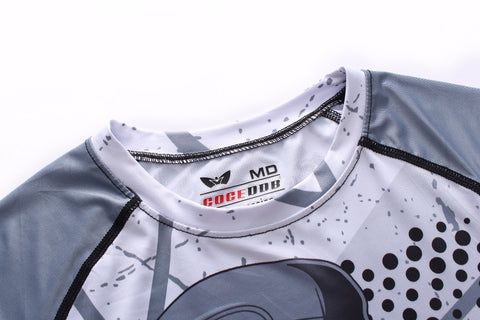 Grey Gorilla long sleeve BJJ rashguard - collar