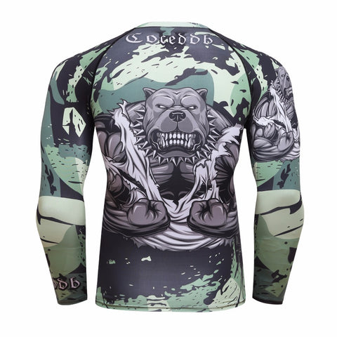 Grey/Green Pitbull rashguard (long sleeve)