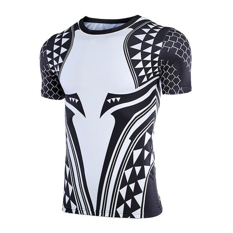 Image of Short Sleeve - Aquaman Rashguard Black/white (short Sleeve)