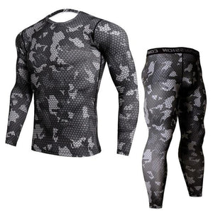 Two-piece - Black/grey Camo Print Rashguard (long Sleeve) And Leggings