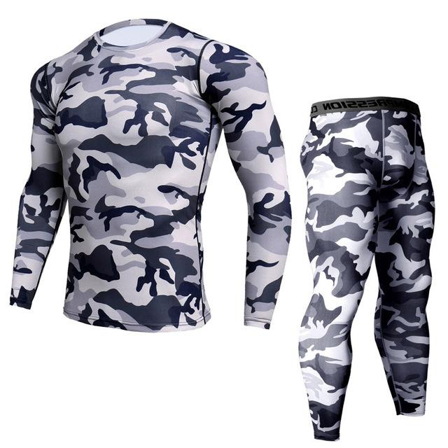 Two-piece - Black/grey/white Camo Print Rashguard (long Sleeve) And Leggings