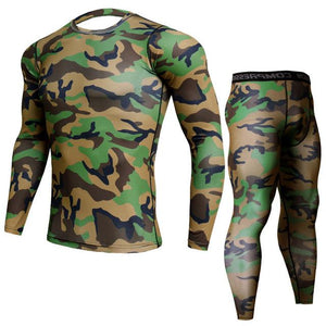 Two-piece - MTP Camo Print Rashguard (long Sleeve) And Leggings