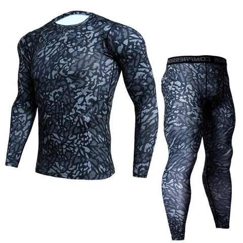 Two-piece - Reptile Print Rashguard (long Sleeve) And Leggings