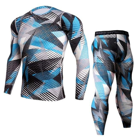 Image of Two-piece - Triangle Print Rashguard (long Sleeve) And Leggings