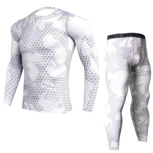 Two-piece - White Camo Print Rashguard (long Sleeve) And Leggings