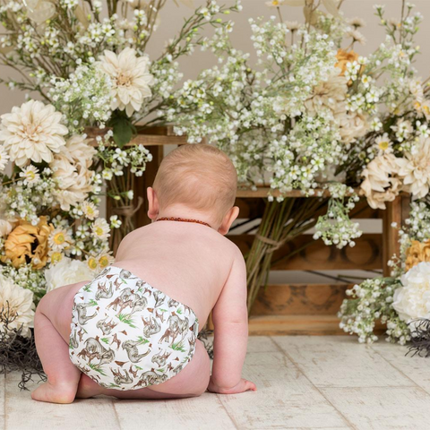 LittleLamb head in the clouds reusable nappy lifestyle shot