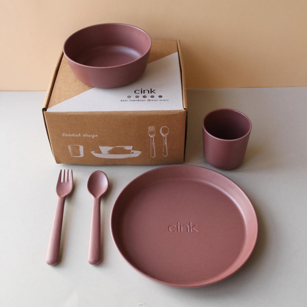 Bamboo Toddler Plate & Bowl Dinnerware Set Beet-Bamboo Baby & Toddler Dinnerware-CINK-Nature's Little Ones