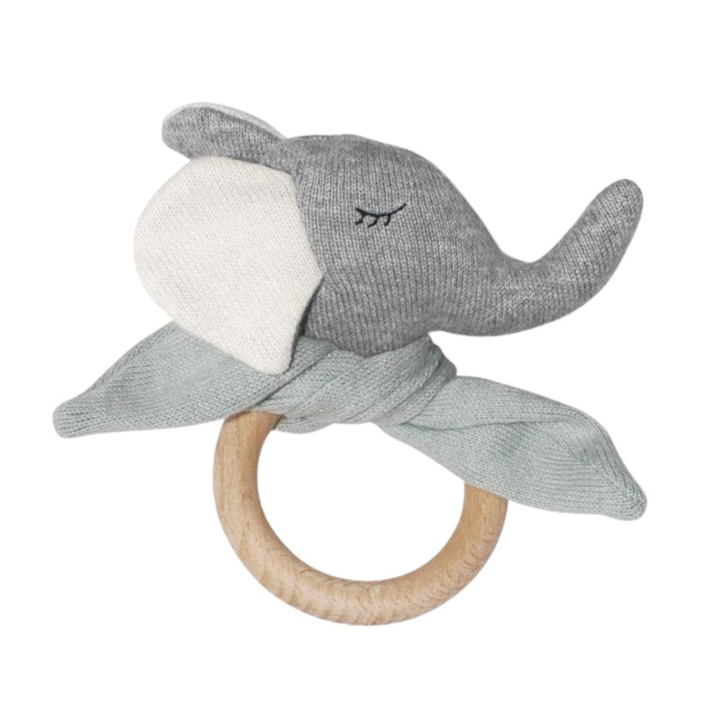 Organic Cotton Knit Elephant Wooden Teething Ring Milky Green
