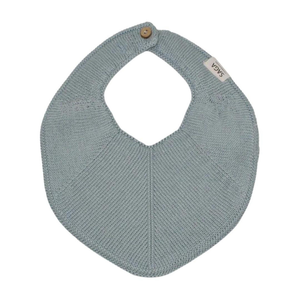 Organic Cotton Knitted Baby Bib Blue