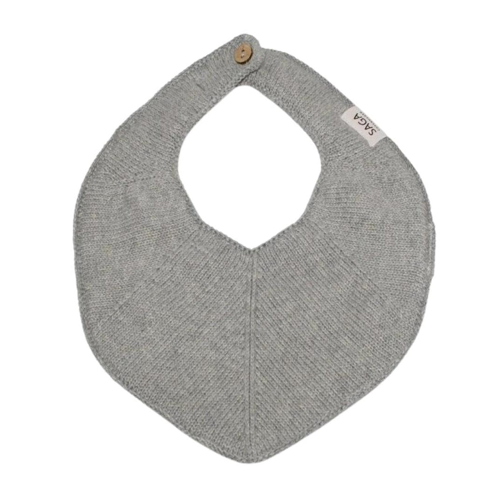 Organic Cotton Knitted Bib Grey-Bibs-Saga Copenhagen-Nature's Little Ones