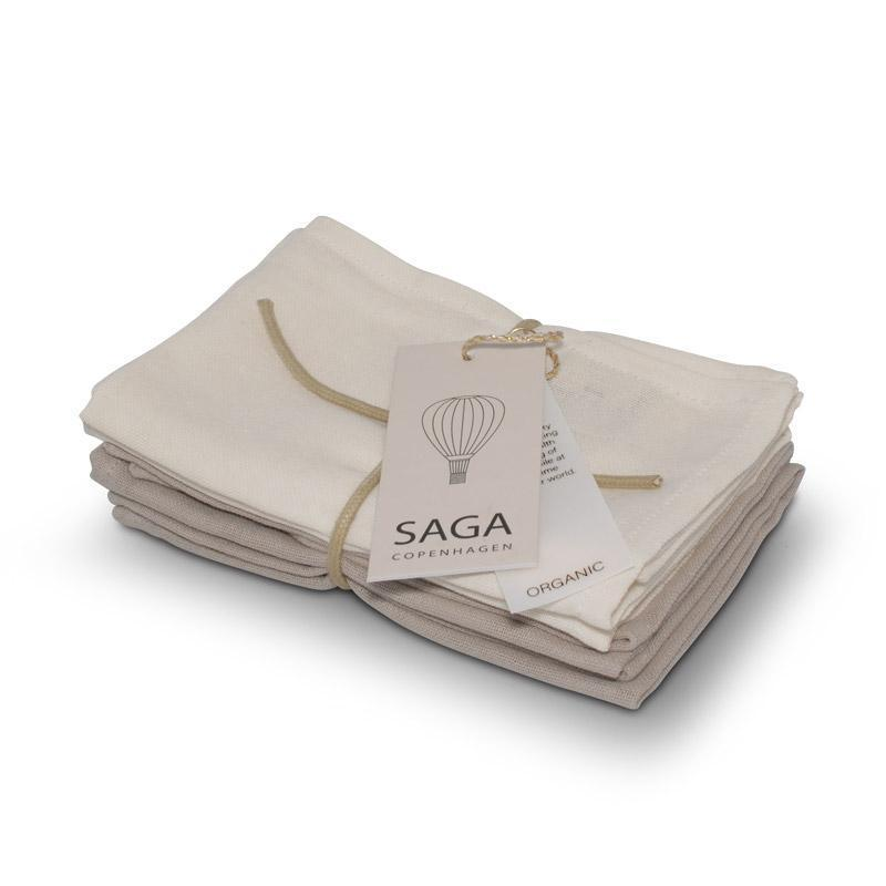 Organic Cotton Soft Muslin Baby Face Cloth Set-Face Cloth-Saga Copenhagen-Nature's Little Ones