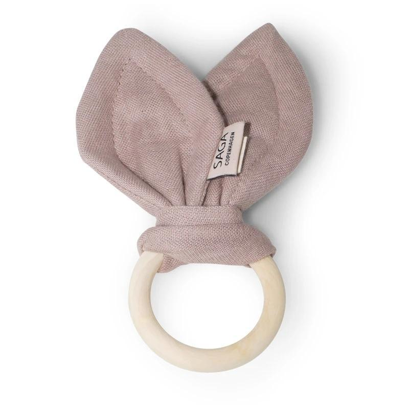 Organic Cotton Wooden Teething Ring Mauve-Teething Rings & Toys-Saga Copenhagen-Nature's Little Ones