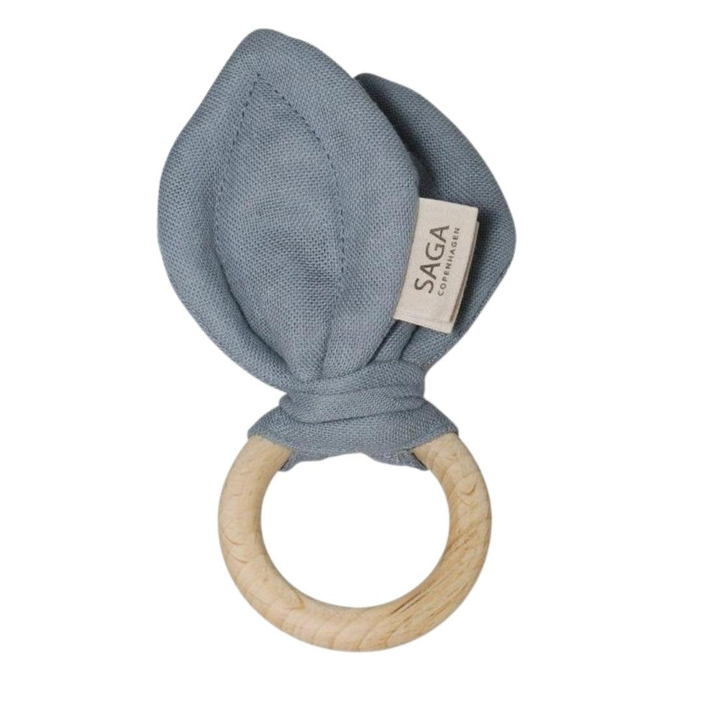 Organic Cotton Wooden Teething Ring Moonlight Blue
