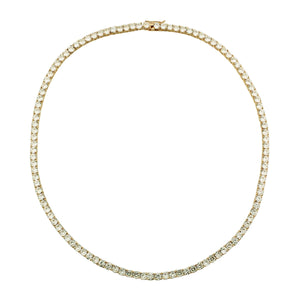 Crystal Tennis Necklace Gold