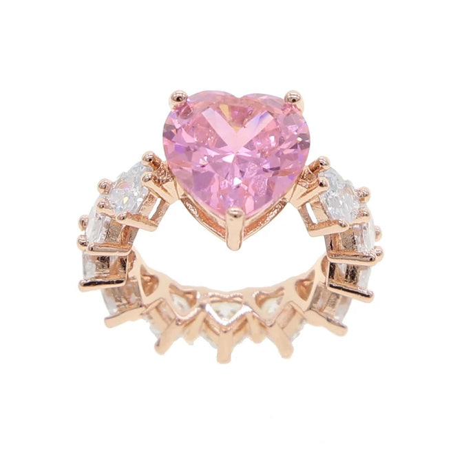 Pink and Gold Heart Ring