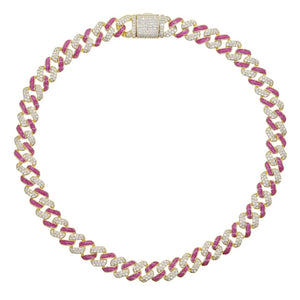 Pink and Gold Cuban Choker