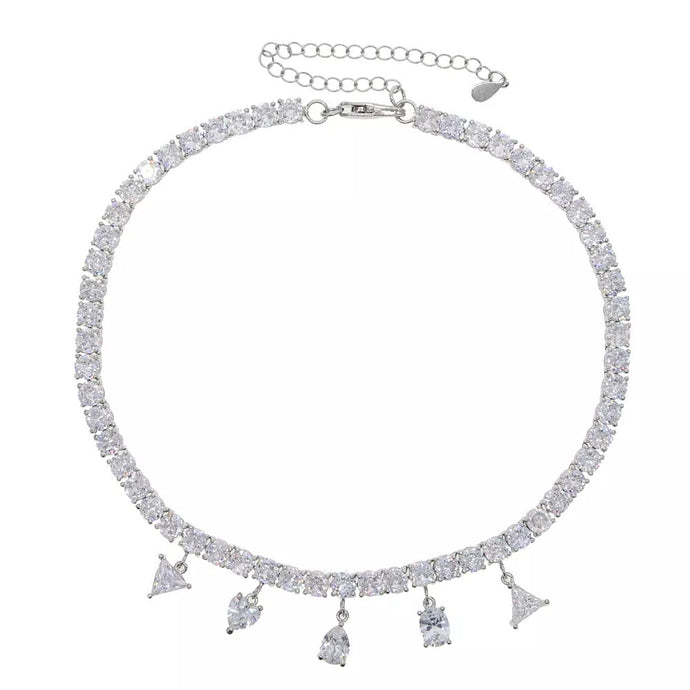 Crystal Drop Tennis necklace Silver