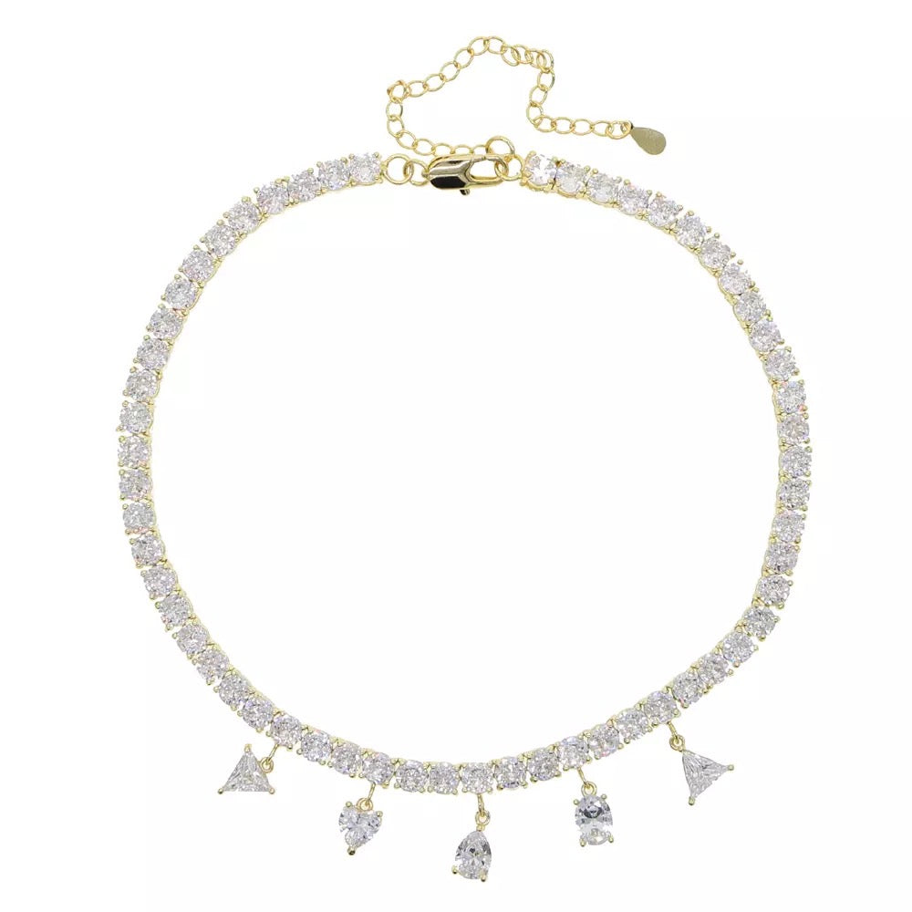 Crystal Drop Tennis Necklace Gold