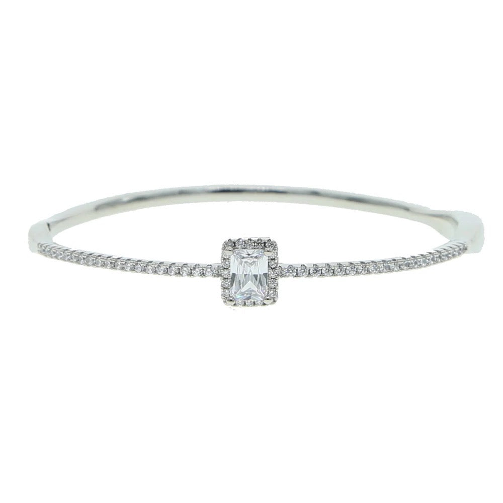 Princess Cut Stone Bangle Bracelet