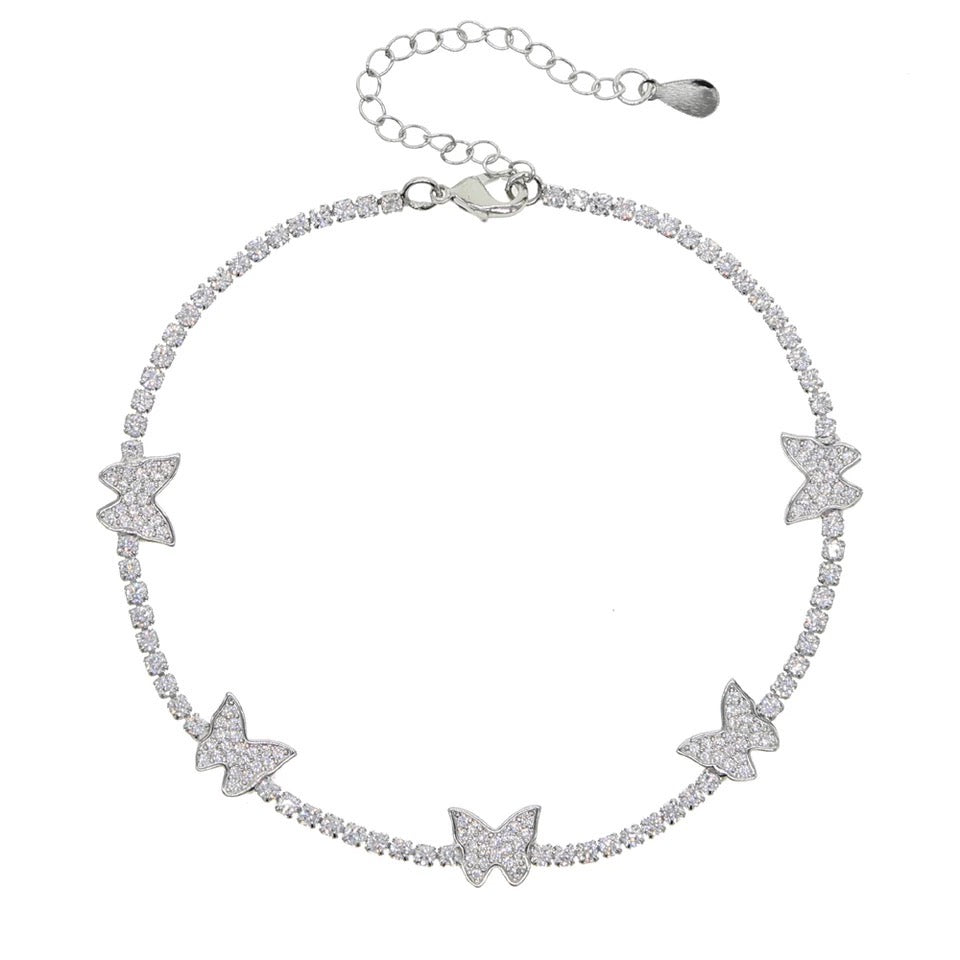 Butterfly Anklet Kids Silver