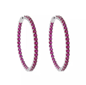 Large Diamond Ruby & Silver Hoop
