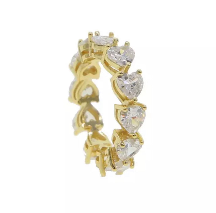 Gold Heart Eternity Band Ring
