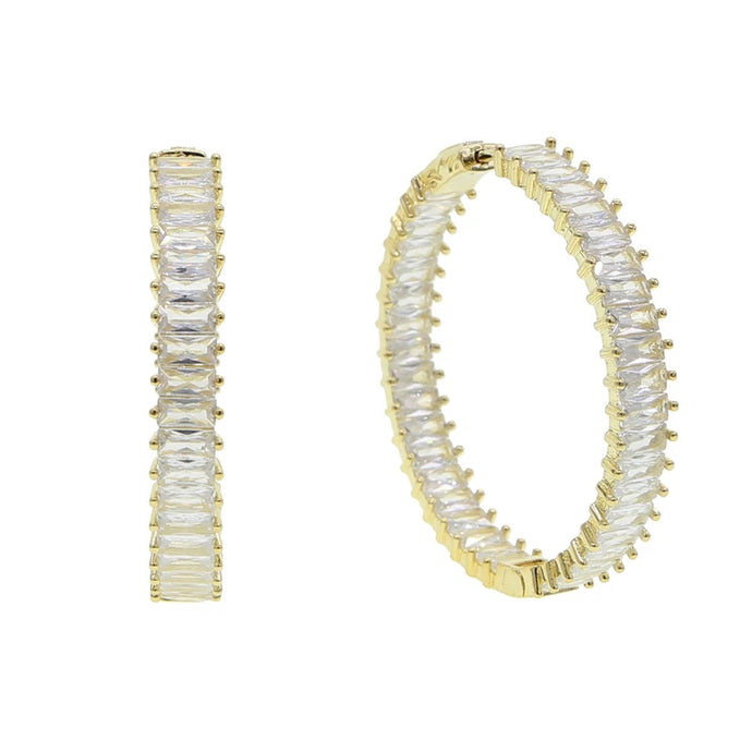 Baguette Icy Hoops Gold