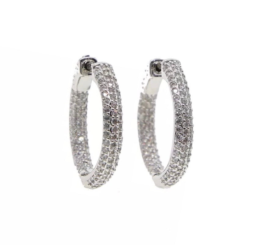 Mini Icy Micro Pave Hoops