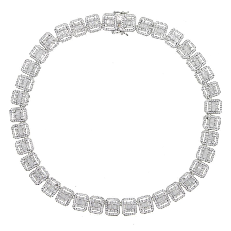 Silver Square Baguette Necklace