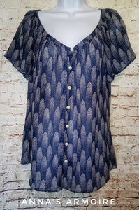 I Heart Ronson Button Down Top Size L (Juniors) - Anna's Armoire