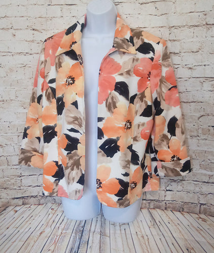 Alfred Dunner Buttonless Blazer with Bright Floral Print Size 12P - Anna's Armoire