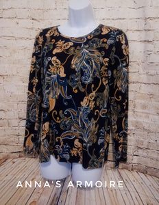 Croft and Barrow Blue and Gold Long Sleeve Paisley Top Size M - Anna's Armoire