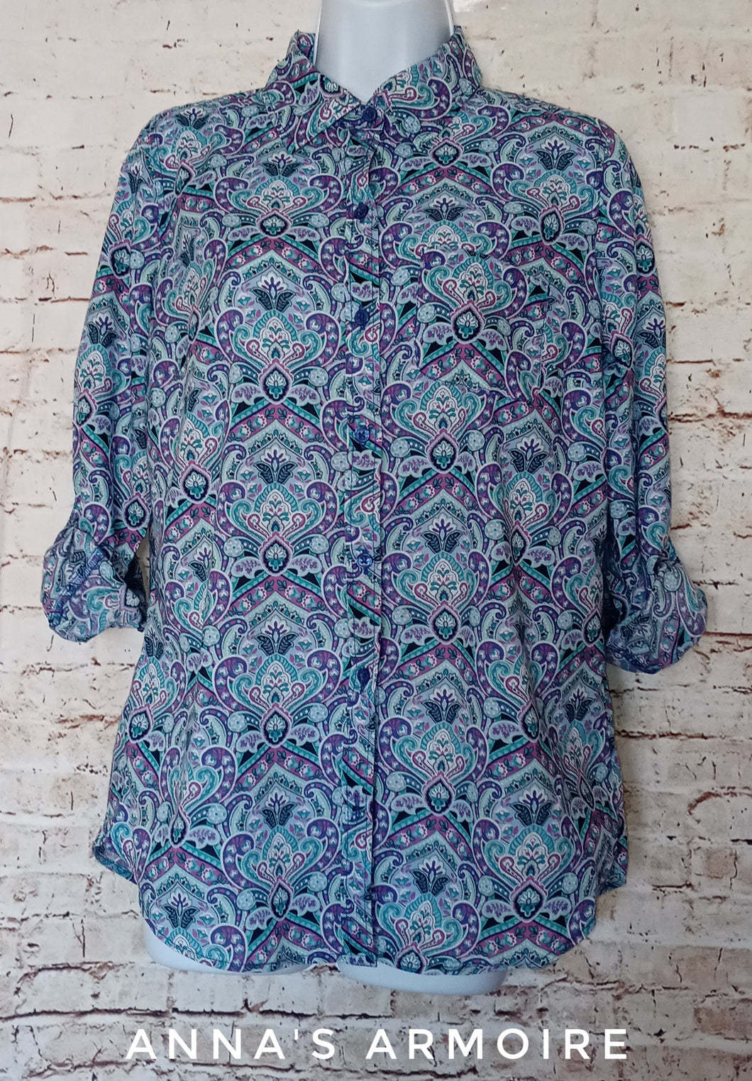 Kim Rogers Button Down Top Size S