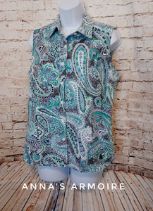 Charter Club Sleeveless Button Down Paisley Top Size 10 - Anna's Armoire
