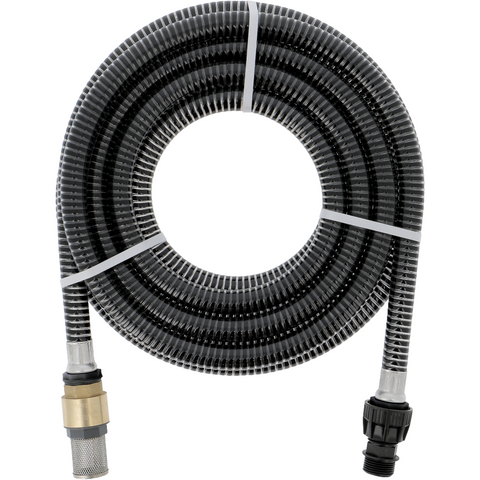 "Suction hose set 7m 1"" with brass non-return valve and stainless steel filter basket"