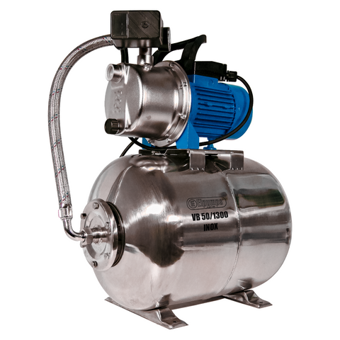 VB 50/1300 INOX Domestic waterwork, with INOX steel pressure tank, INOX steel impeller and INOX steel casing, 1300 W, 5,400 l/h, 4,7 bar, 50 L