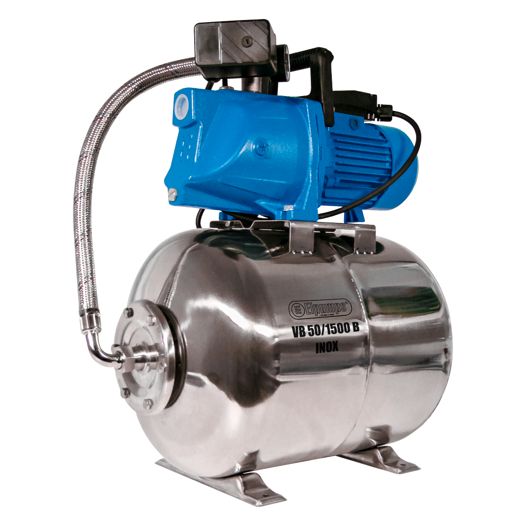 VB 50/1500 B INOX Domestic waterwork, with INOX steel pressure tank and INOX steel impeller, 1500 W, 6,300 l/h, 4,8 bar, 50 L