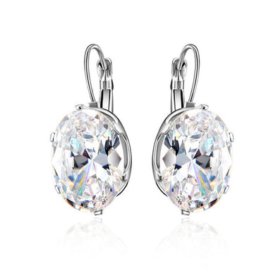 Silver Cubic Zirconia Big Stone Earrings